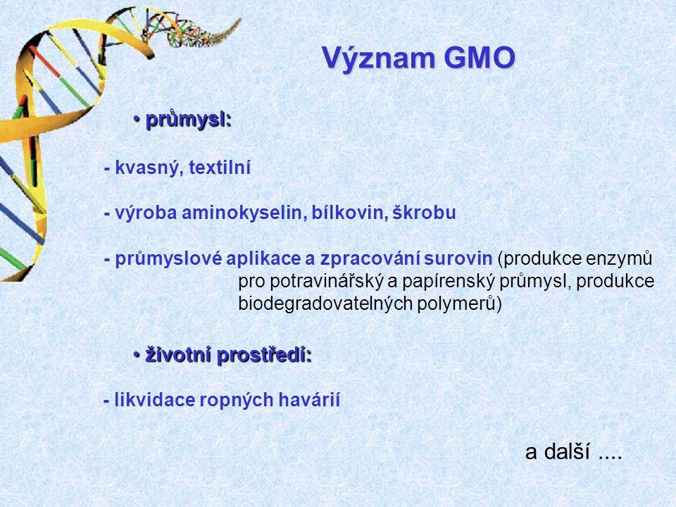 - průmyslové aplikace a zpracování surovin (produkce enzymů pro potravinářský a papírenský průmysl, produkce biodegradovatelných polymerů) - kvasný, t