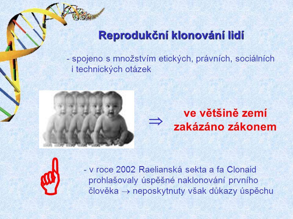 Reprodukční klonování lidí   ve většině zemí zakázáno zákonem - spojeno s množstvím etických, právních, sociálních i technických otázek - v roce 200