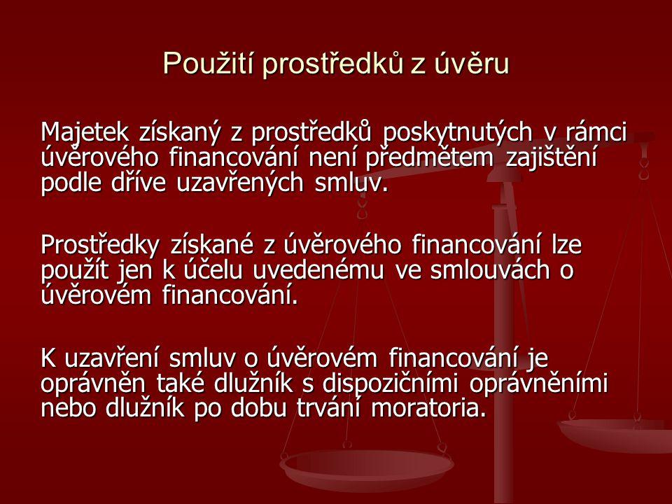 Použití prostředků z úvěru Majetek získaný z prostředků poskytnutých v rámci úvěrového financování není předmětem zajištění podle dříve uzavřených smluv.