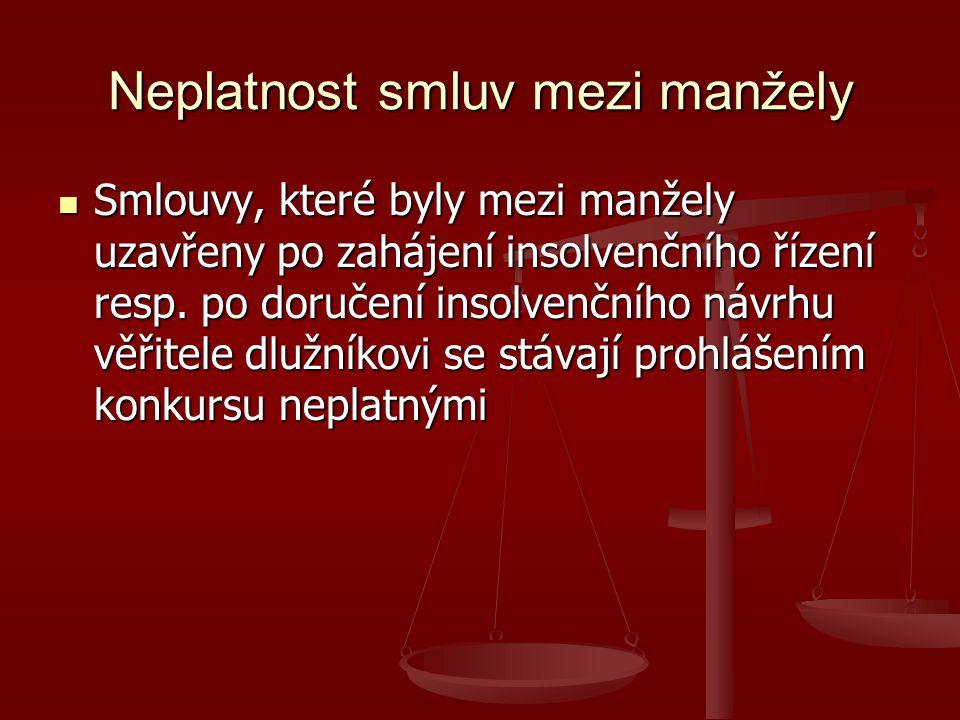 Neplatnost smluv mezi manžely Smlouvy, které byly mezi manžely uzavřeny po zahájení insolvenčního řízení resp.