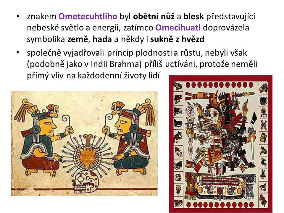 znakem Ometecuhtliho byl obětní nůž a blesk představující nebeské světlo a energii, zatímco Omecihuatl doprovázela symbolika země, hada a někdy i sukn