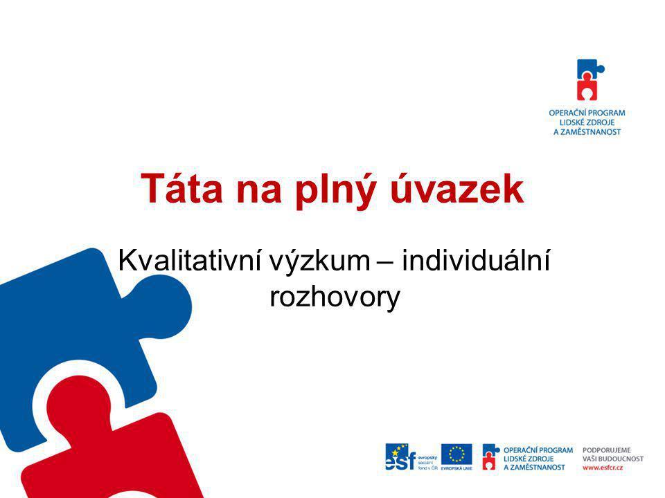Metoda Kvalitativní výzkum v rámci projektu Táta na plný úvazek byl realizován formou individuálních rozhovorů v termínu od 10.12.2012 do 18.1.