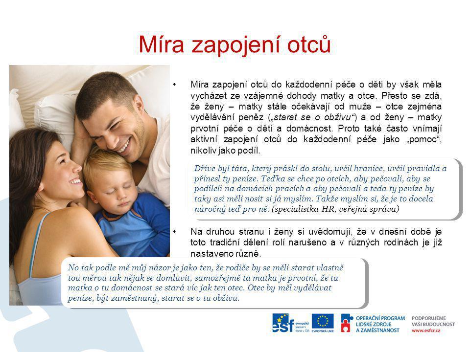 Míra zapojení otců Míra zapojení otců do každodenní péče o děti by však měla vycházet ze vzájemné dohody matky a otce. Přesto se zdá, že ženy – matky