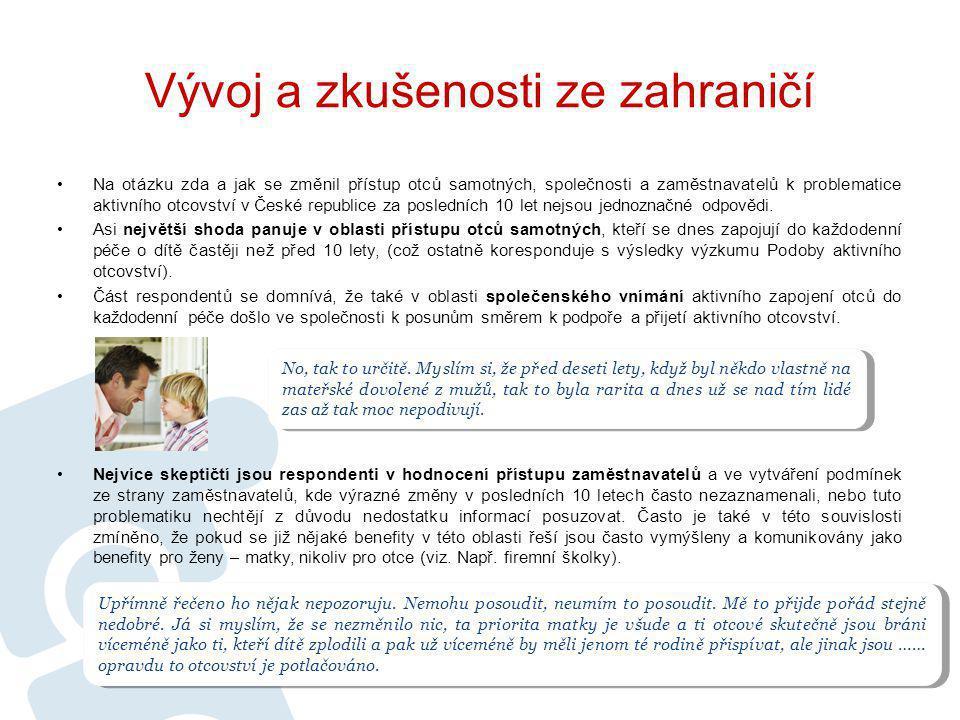 Na otázku zda a jak se změnil přístup otců samotných, společnosti a zaměstnavatelů k problematice aktivního otcovství v České republice za posledních