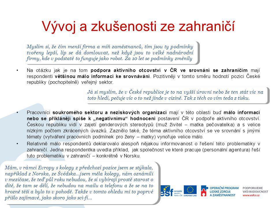 Vývoj a zkušenosti ze zahraničí Na otázku jak je na tom podpora aktivního otcovství v ČR ve srovnání se zahraničím mají respondenti většinou málo info