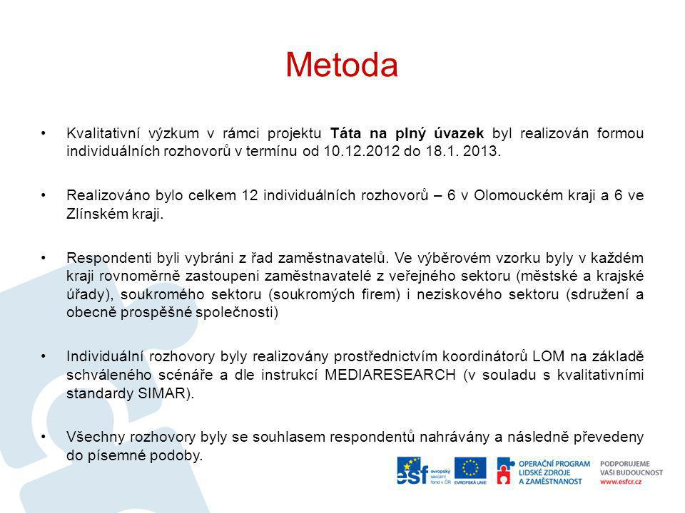 Metoda Kvalitativní výzkum v rámci projektu Táta na plný úvazek byl realizován formou individuálních rozhovorů v termínu od 10.12.2012 do 18.1. 2013.