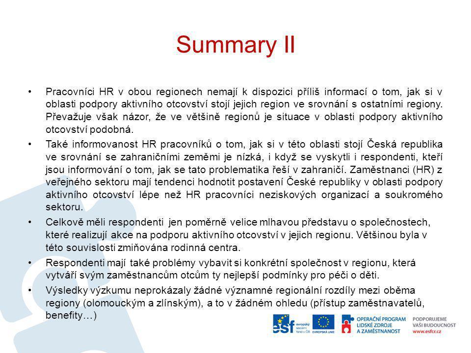 Summary III Podobně jako v roce 2009 (v rámci výzkumu Podoby aktivního otcovství) se firmy již setkávají s tím, že muži zůstávají s nemocnými dětmi doma, chodí s nimi k lékaři a dokonce využívají rodičovské dovolené.