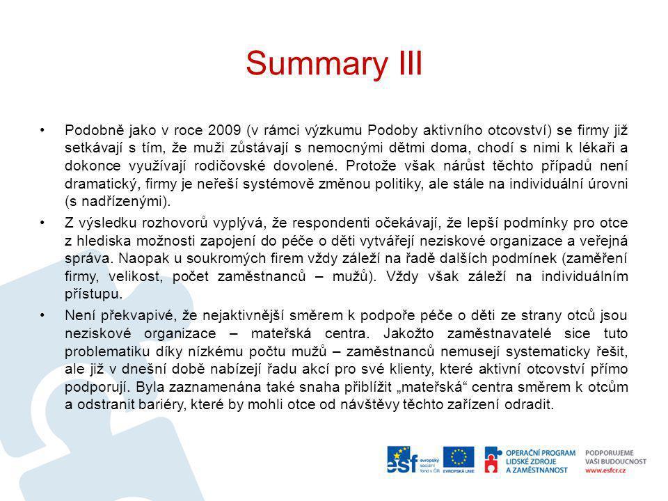 Summary III Podobně jako v roce 2009 (v rámci výzkumu Podoby aktivního otcovství) se firmy již setkávají s tím, že muži zůstávají s nemocnými dětmi do