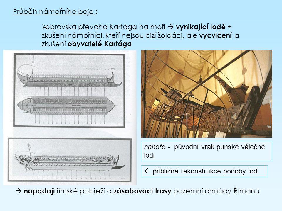 Průběh námořního boje : oobrovská převaha Kartága na moři  vynikající lodě + zkušení námořníci, kteří nejsou cizí žoldáci, ale vycvičení a zkušení