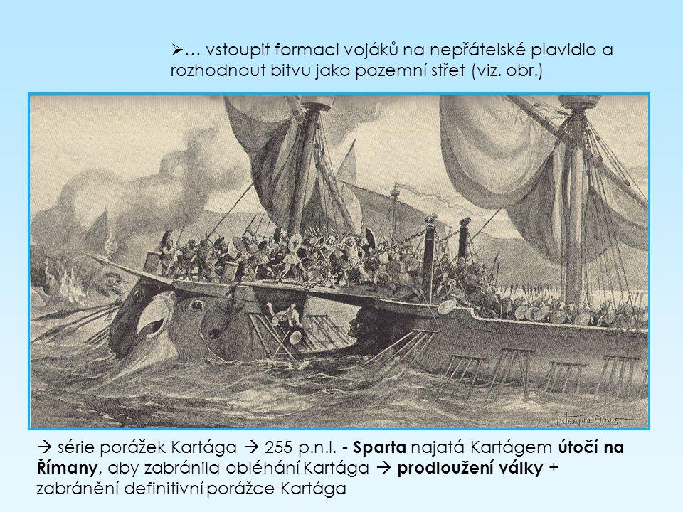 … vstoupit formaci vojáků na nepřátelské plavidlo a rozhodnout bitvu jako pozemní střet (viz. obr.)  série porážek Kartága  255 p.n.l. - Sparta na