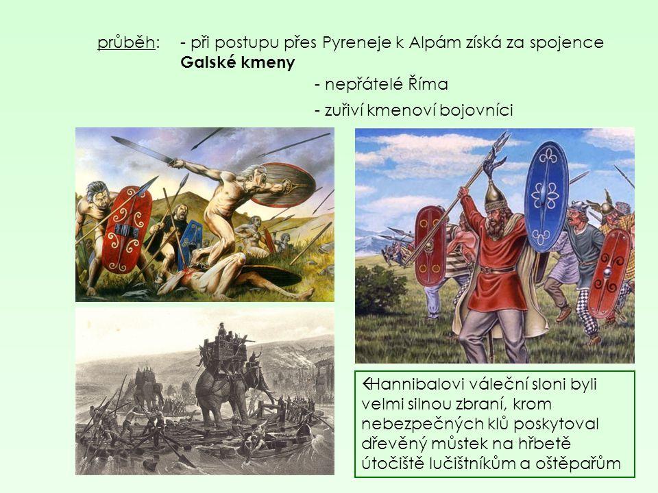 průběh: - p ři postupu přes Pyreneje k Alpám získá za spojence Galské kmeny - nepřátelé Říma - zuřiví kmenoví bojovníci  Hannibalovi váleční sloni by