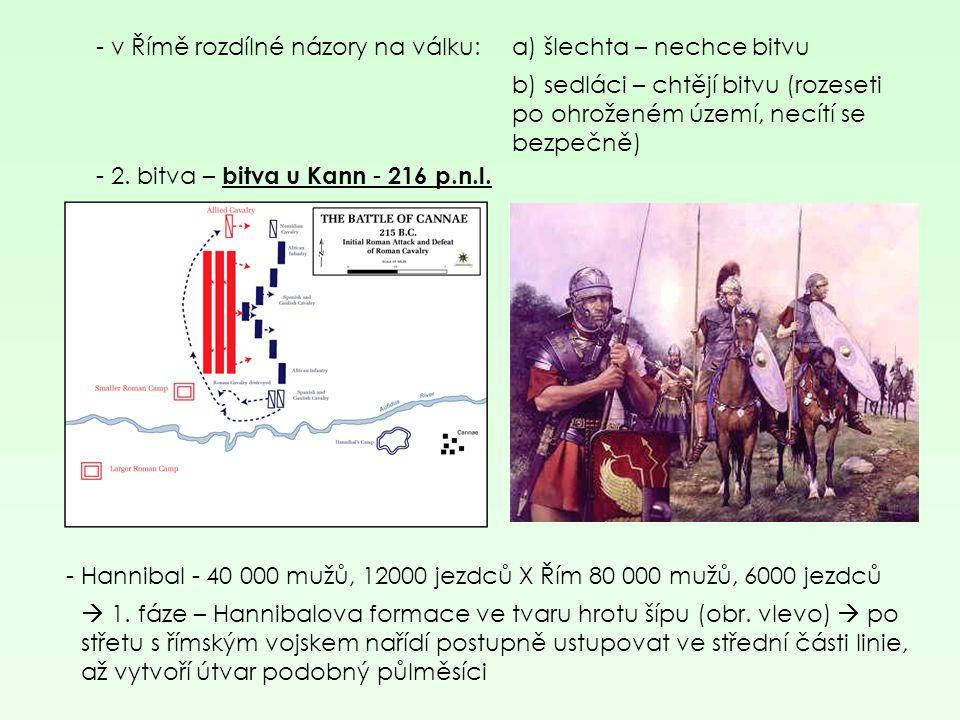 - 2. bitva – bitva u Kann - 216 p.n.l. - v Římě rozdílné názory na válku:a) šlechta – nechce bitvu b) sedláci – chtějí bitvu (rozeseti po ohroženém úz