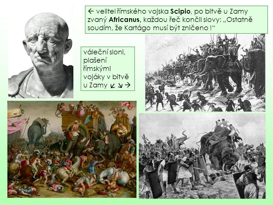 """ velitel římského vojska Scipio, po bitvě u Zamy zvaný Africanus, k aždou řeč končil slovy: """"Ostatně soudím, že Kartágo musí být zničeno !"""" váleční s"""
