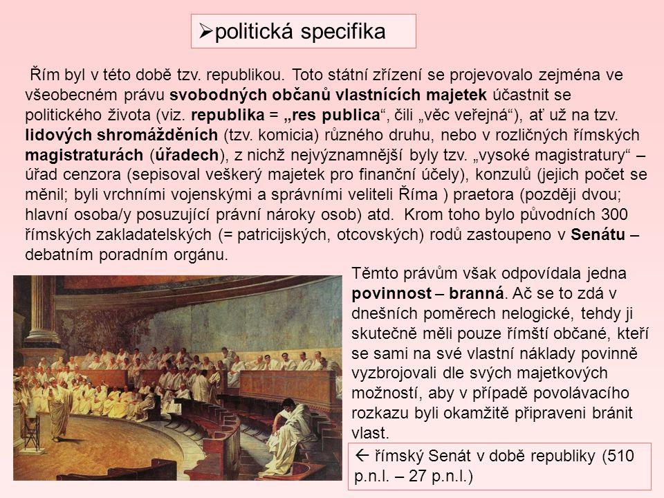  politická specifika Řím byl v této době tzv. republikou. Toto státní zřízení se projevovalo zejména ve všeobecném právu svobodných občanů vlastnícíc