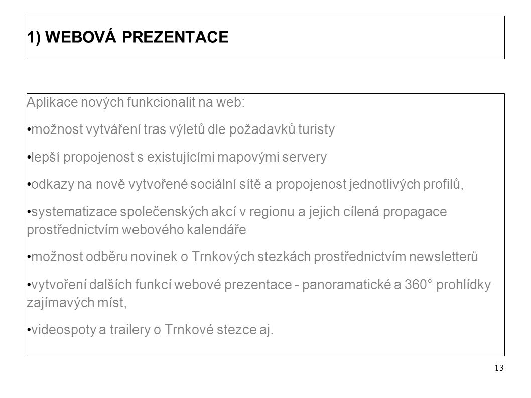 Výstupy projektu Projekt zahrnuje 4 základní výstupy: Zkvalitnění a rozšíření stávající webové prezentace TRNKOVÁ STEZKA Realizace