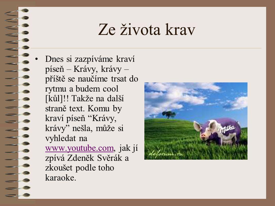 Ze života krav Dnes si zazpíváme kraví píseň – Krávy, krávy – příště se naučíme trsat do rytmu a budem cool [kůl]!! Takže na další straně text. Komu b