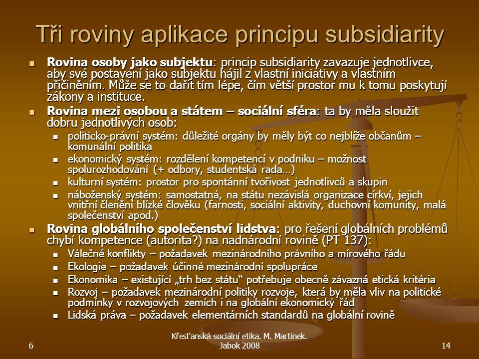 6 Křesťanská sociální etika. M. Martinek. Jabok 200814 Tři roviny aplikace principu subsidiarity Rovina osoby jako subjektu: princip subsidiarity zava