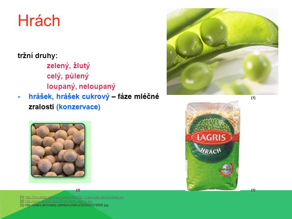 Fazole -mají různou velikost, tvar i barvu tržní druhy: bílé (velké, bostonské, lima), černé (vigna), červené, strakaté [1] ledvinkovité, kulovité -zelené lusky – fáze mléčné zralosti (konzervace) [2] [3] [1] http://www.receptnazdravi.cz/wp-content/uploads/2012/01/shutterstock_73383799-230x150.jpg [2] http://www.doktoronline.cz/galerie/01/big/06061422.jpg [3] http://www.stastnezeny.cz/data/USR_051_DEFAULT/fazolove_lusky.jpg