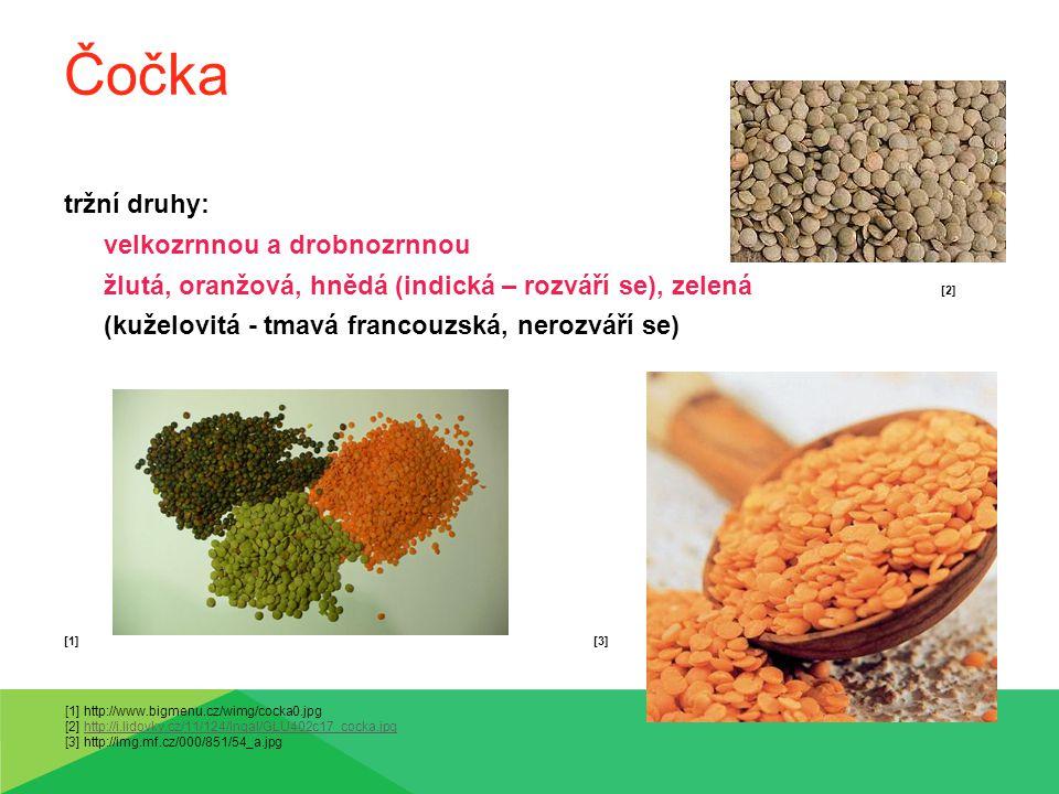 Čočka tržní druhy: velkozrnnou a drobnozrnnou žlutá, oranžová, hnědá (indická – rozváří se), zelená [2] (kuželovitá - tmavá francouzská, nerozváří se)