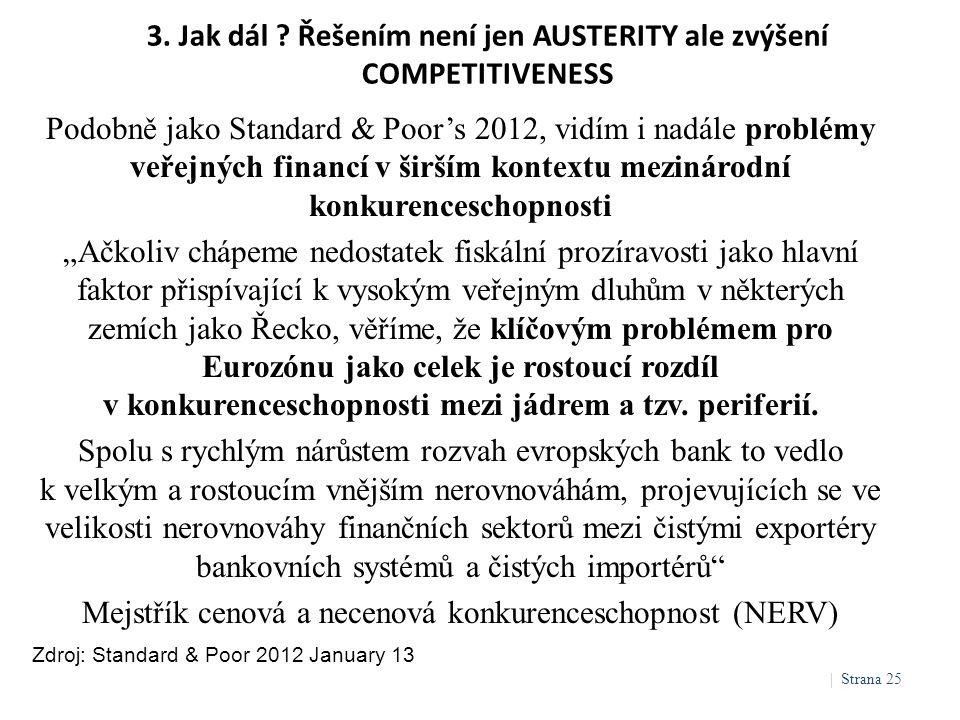 3. Jak dál ? Řešením není jen AUSTERITY ale zvýšení COMPETITIVENESS Zdroj: Standard & Poor 2012 January 13 Podobně jako Standard & Poor's 2012, vidím