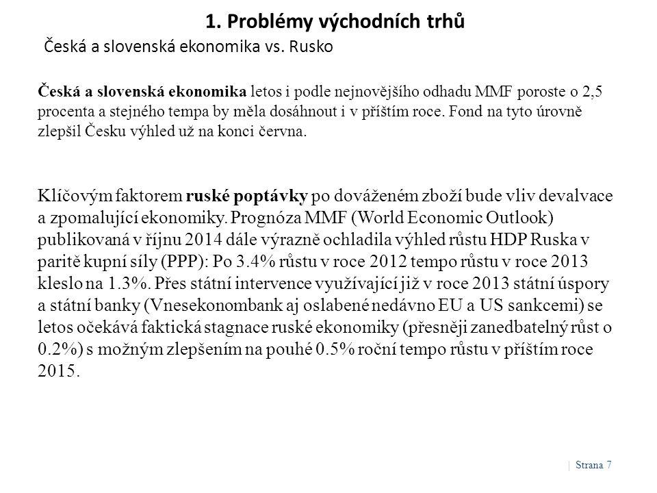 1. Problémy východních trhů Česká a slovenská ekonomika vs. Rusko | Strana 7 Česká a slovenská ekonomika letos i podle nejnovějšího odhadu MMF poroste