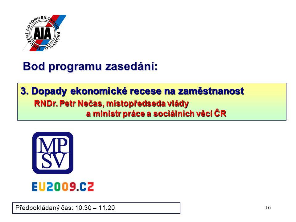 16 Bod programu zasedání: Předpokládaný čas: 10.30 – 11.20 3.