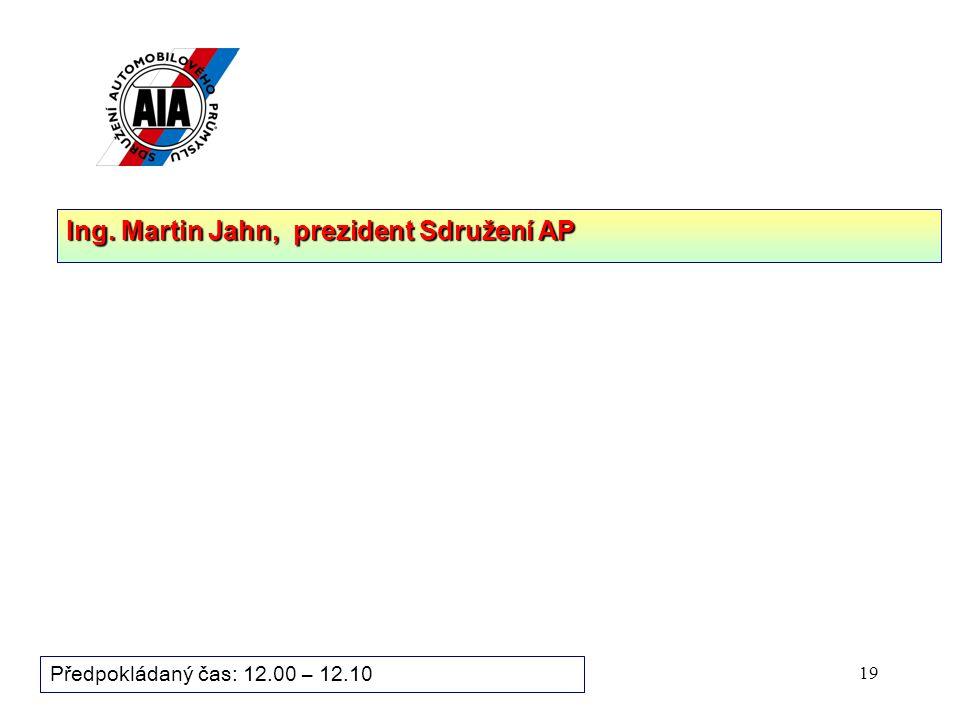 19 Předpokládaný čas: 12.00 – 12.10 Ing. Martin Jahn, prezident Sdružení AP