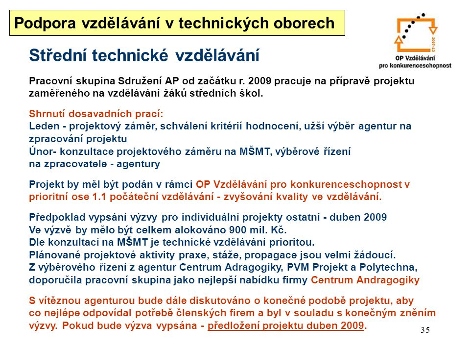35 Střední technické vzdělávání Pracovní skupina Sdružení AP od začátku r.