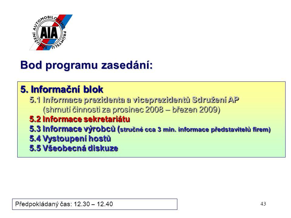 43 Bod programu zasedání: Předpokládaný čas: 12.30 – 12.40 5.
