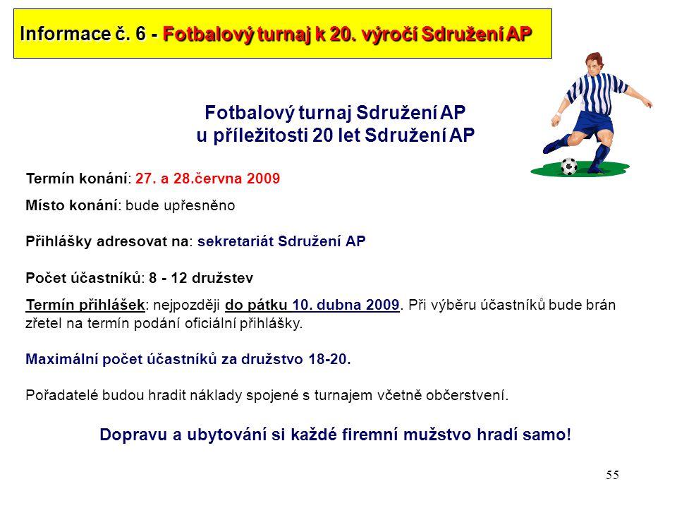 55 Informace č.6 - Fotbalový turnaj k 20.