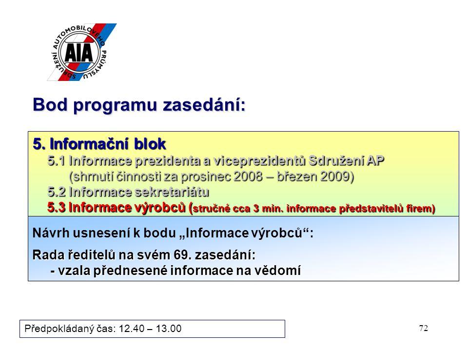 72 Bod programu zasedání: Předpokládaný čas: 12.40 – 13.00 5.