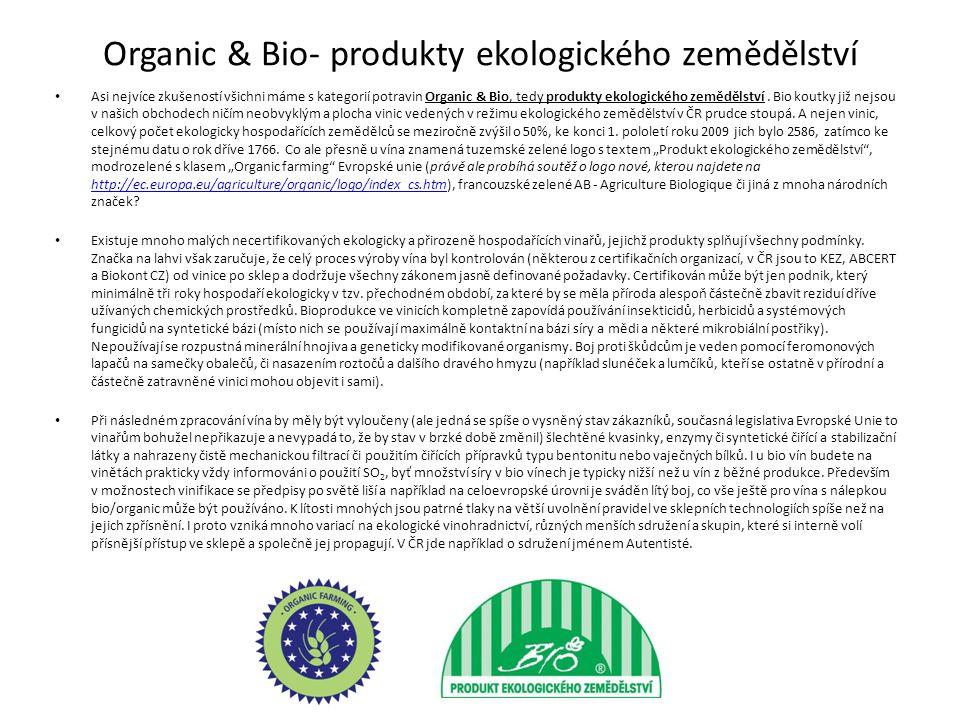 Organic & Bio- produkty ekologického zemědělství Asi nejvíce zkušeností všichni máme s kategorií potravin Organic & Bio, tedy produkty ekologického zemědělství.