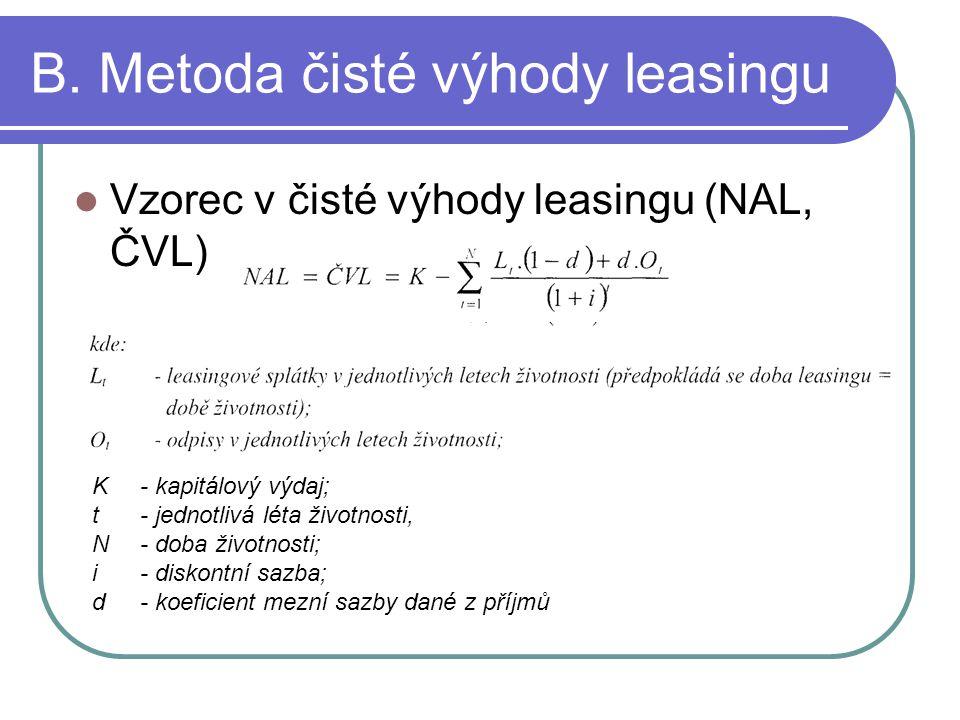B. Metoda čisté výhody leasingu Vzorec v čisté výhody leasingu (NAL, ČVL) K - kapitálový výdaj; t - jednotlivá léta životnosti, N - doba životnosti; i