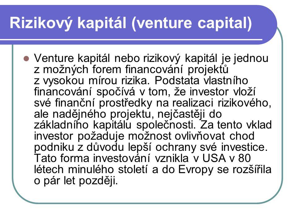 Rizikový kapitál (venture capital) Venture kapitál nebo rizikový kapitál je jednou z možných forem financování projektů z vysokou mírou rizika. Podsta