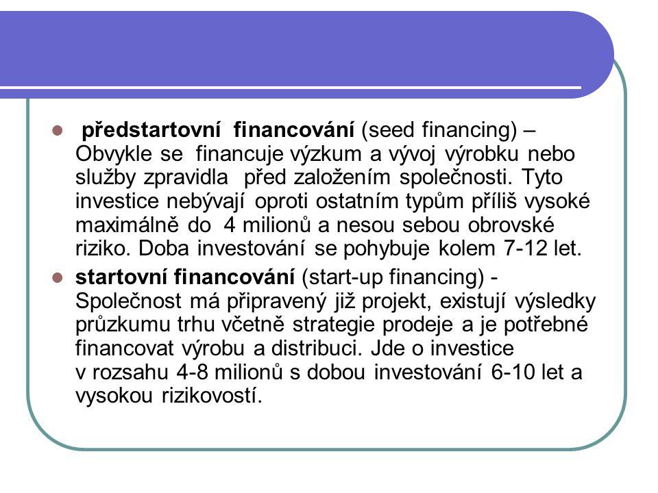 předstartovní financování (seed financing) – Obvykle se financuje výzkum a vývoj výrobku nebo služby zpravidla před založením společnosti. Tyto invest