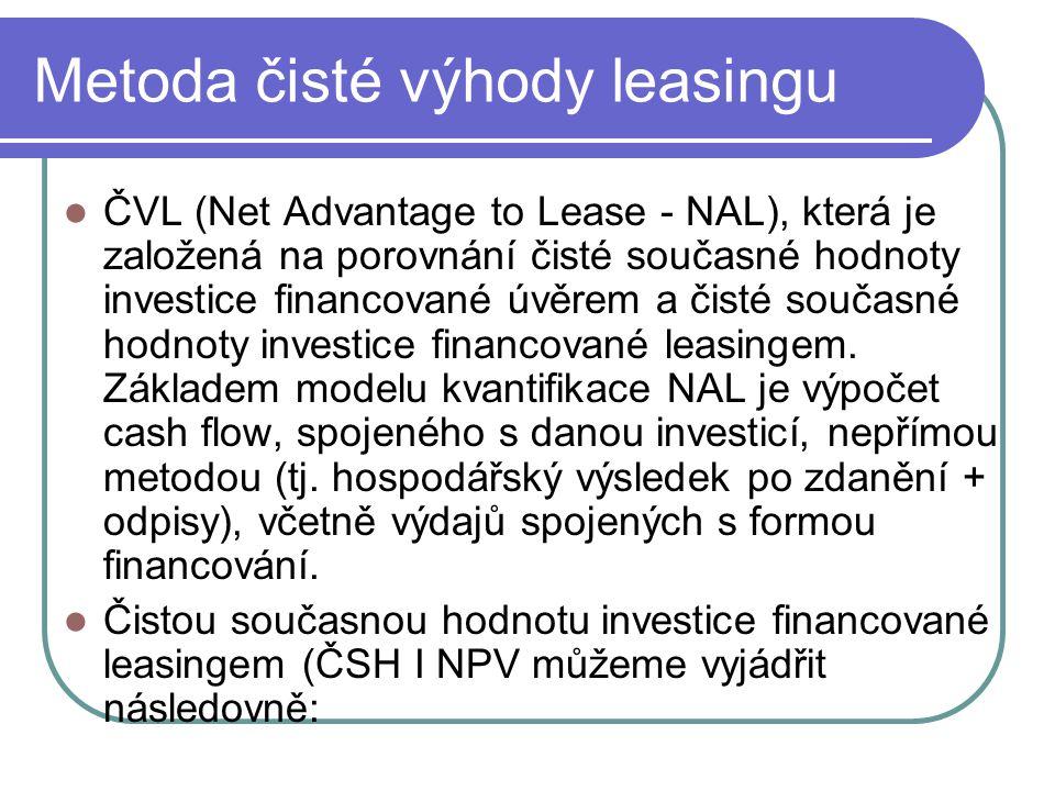 Metoda čisté výhody leasingu ČVL (Net Advantage to Lease - NAL), která je založená na porovnání čisté současné hodnoty investice financované úvěrem a