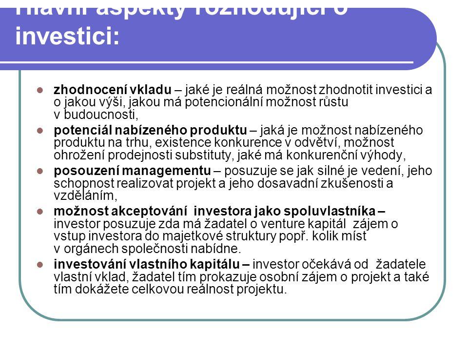 Hlavní aspekty rozhodující o investici: zhodnocení vkladu – jaké je reálná možnost zhodnotit investici a o jakou výši, jakou má potencionální možnost