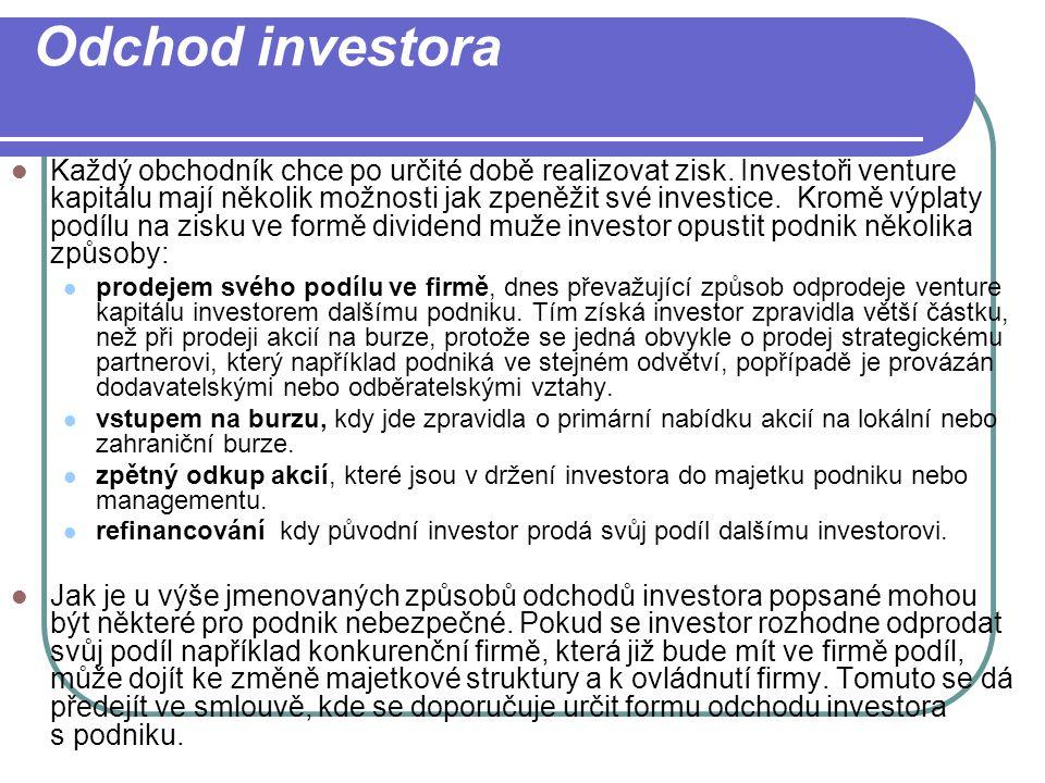 Odchod investora Každý obchodník chce po určité době realizovat zisk. Investoři venture kapitálu mají několik možnosti jak zpeněžit své investice. Kro