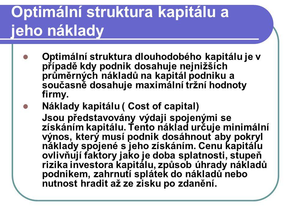 Optimální struktura kapitálu a jeho náklady Optimální struktura dlouhodobého kapitálu je v případě kdy podnik dosahuje nejnižších průměrných nákladů n