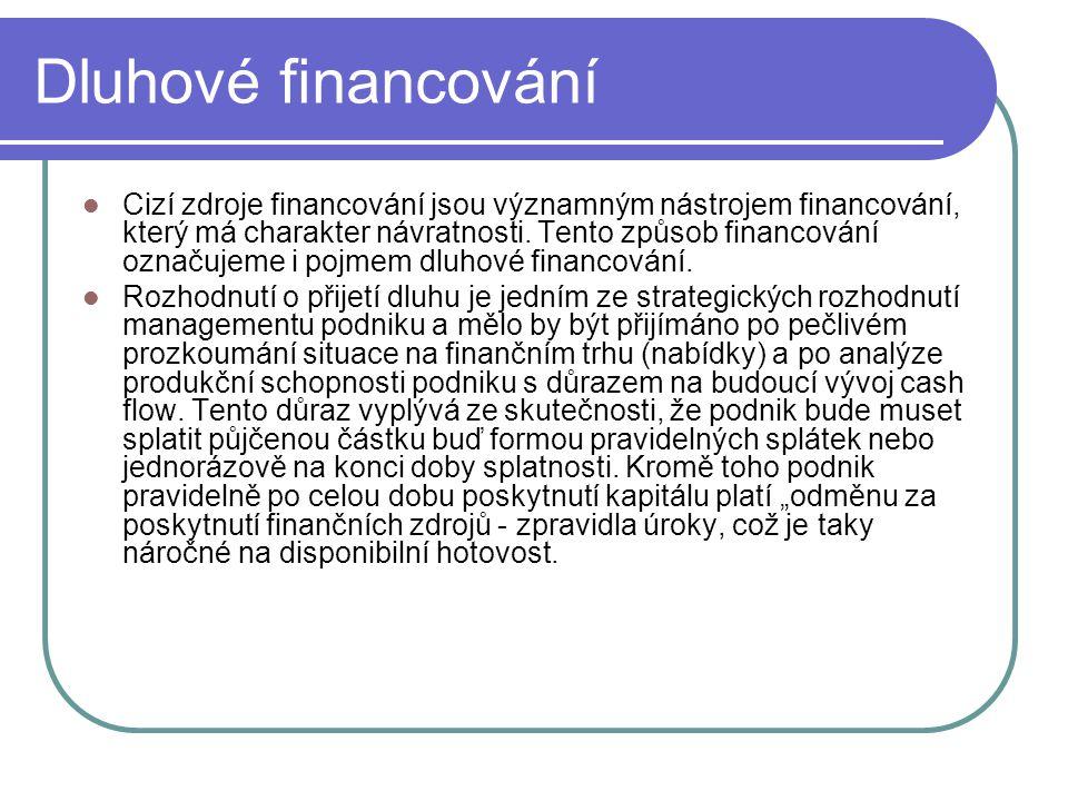 Dluhové financování Cizí zdroje financování jsou významným nástrojem financování, který má charakter návratnosti. Tento způsob financování označujeme
