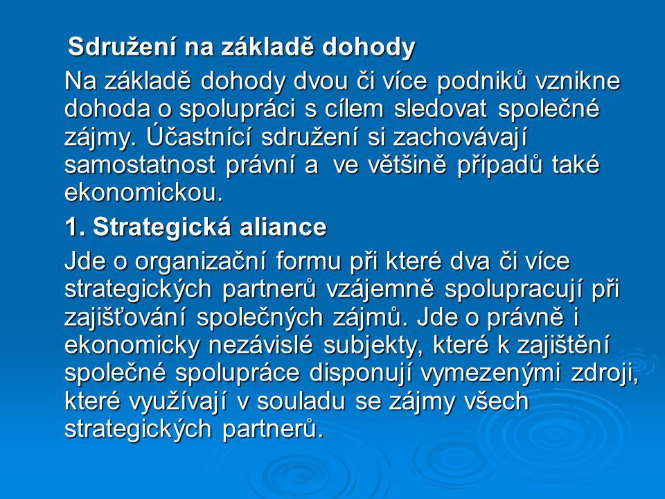 Sdružení na základě dohody Sdružení na základě dohody Na základě dohody dvou či více podniků vznikne dohoda o spolupráci s cílem sledovat společné záj