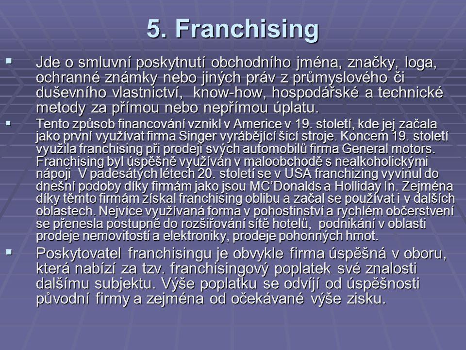 5. Franchising  Jde o smluvní poskytnutí obchodního jména, značky, loga, ochranné známky nebo jiných práv z průmyslového či duševního vlastnictví, kn