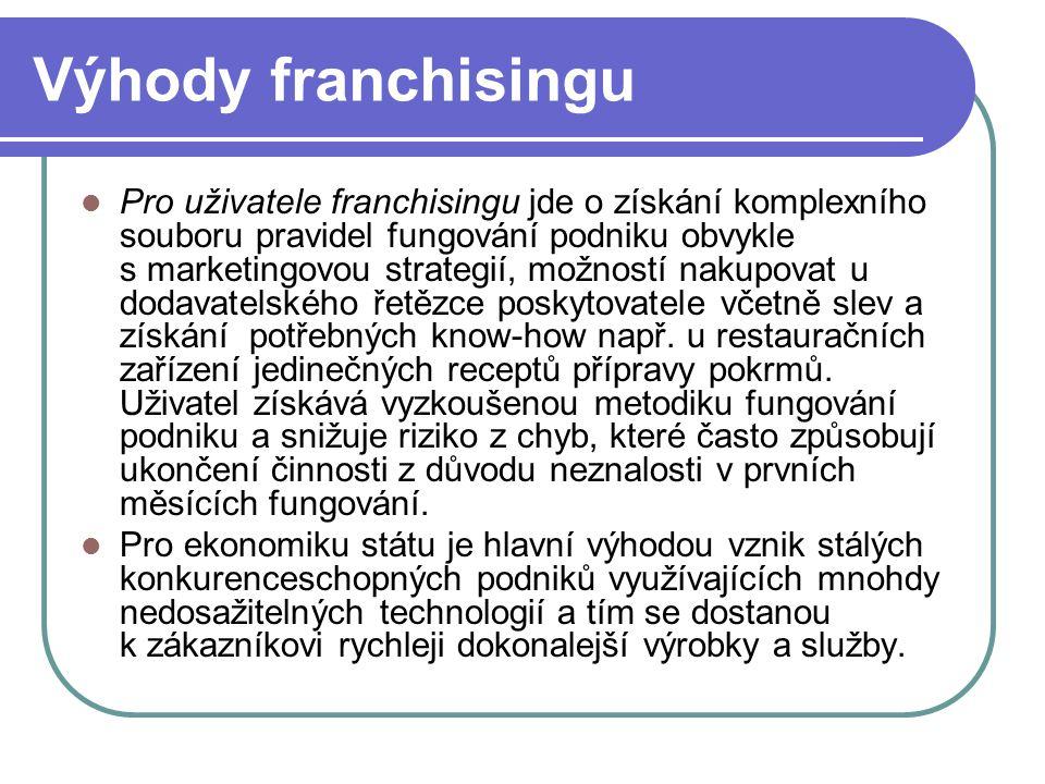 Výhody franchisingu Pro uživatele franchisingu jde o získání komplexního souboru pravidel fungování podniku obvykle s marketingovou strategií, možnost