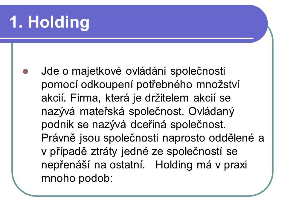1. Holding Jde o majetkové ovládáni společnosti pomocí odkoupení potřebného množství akcií. Firma, která je držitelem akcií se nazývá mateřská společn