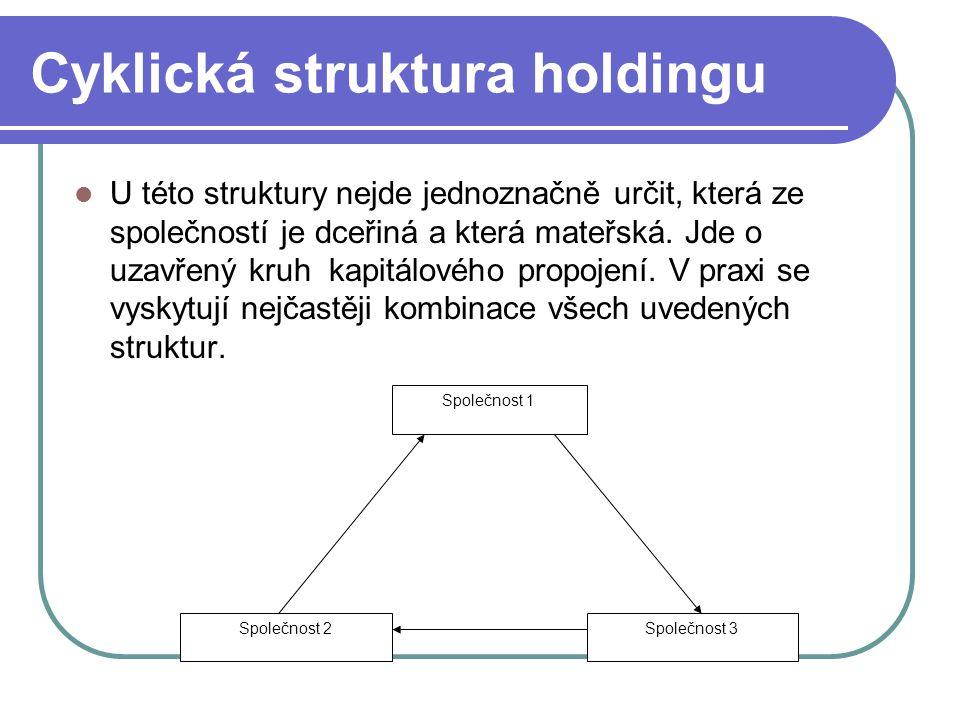 Cyklická struktura holdingu U této struktury nejde jednoznačně určit, která ze společností je dceřiná a která mateřská. Jde o uzavřený kruh kapitálové