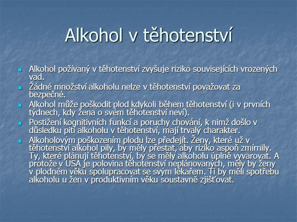 Alkohol v těhotenství Alkohol požívaný v těhotenství zvyšuje riziko souvisejících vrozených vad. Alkohol požívaný v těhotenství zvyšuje riziko souvise