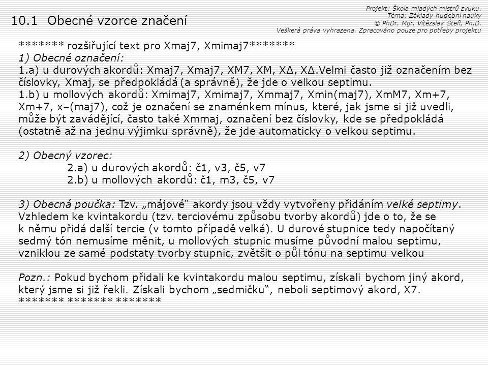 Projekt: Škola mladých mistrů zvuku. Téma: Základy hudební nauky © PhDr. Mgr. Vítězslav Štefl, Ph.D. Veškerá práva vyhrazena. Zpracováno pouze pro pot