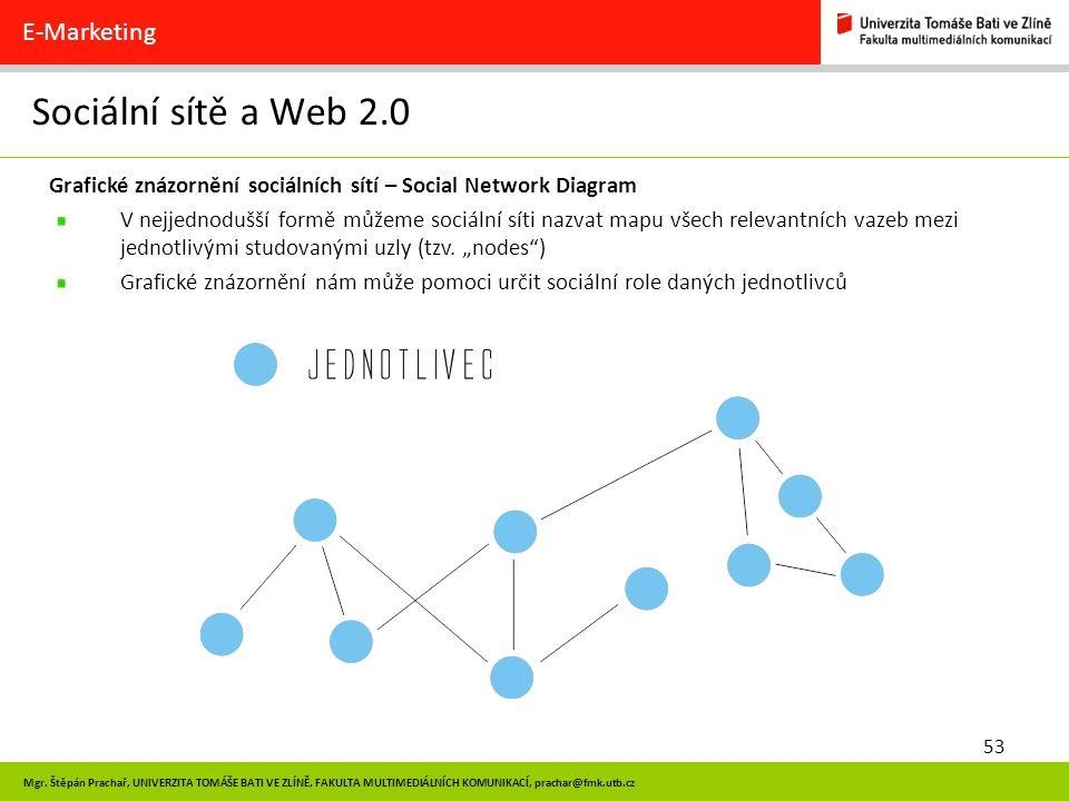 53 Mgr. Štěpán Prachař, UNIVERZITA TOMÁŠE BATI VE ZLÍNĚ, FAKULTA MULTIMEDIÁLNÍCH KOMUNIKACÍ, prachar@fmk.utb.cz Sociální sítě a Web 2.0 E-Marketing Gr