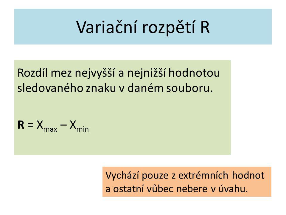 Variační rozpětí R Rozdíl mez nejvyšší a nejnižší hodnotou sledovaného znaku v daném souboru.