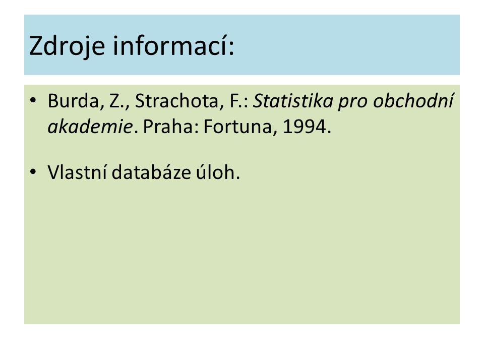 Zdroje informací: Burda, Z., Strachota, F.: Statistika pro obchodní akademie.